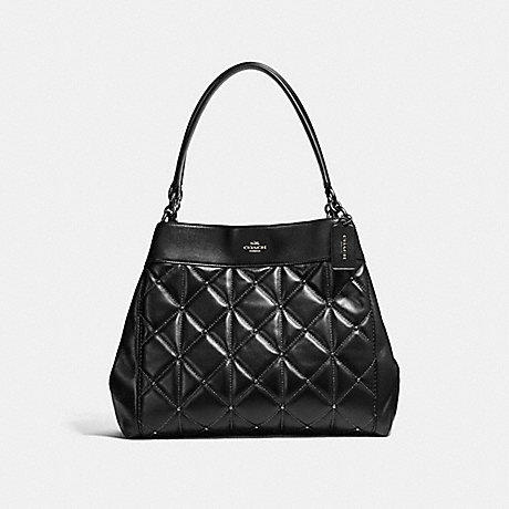 COACH f13950 LEXY SHOULDER BAG WITH QUILTING ANTIQUE NICKEL/BLACK