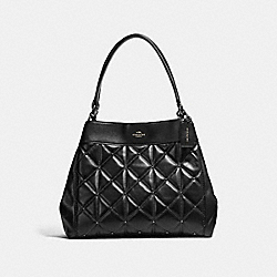 LEXY SHOULDER BAG WITH QUILTING - f13950 - ANTIQUE NICKEL/BLACK