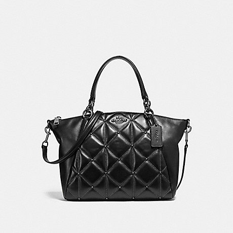 COACH f13951 SMALL KELSEY SATCHEL WITH QUILTING ANTIQUE NICKEL/BLACK