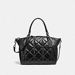 SMALL KELSEY SATCHEL WITH QUILTING - f13951 - ANTIQUE NICKEL/BLACK