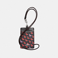COACH F13955 Id Lanyard In Bunny Print Coated Canvas SILVER/BLACK MULTI
