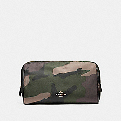 COACH F14401 Cosmetic Case 22 In Camo Nylon LIGHT GOLD/DARK GREEN