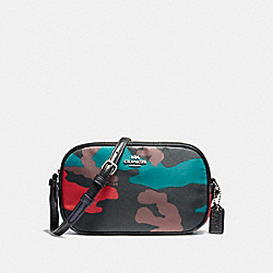 CROSSBODY POUCH IN CAMO NYLON - f14409 - LIGHT GOLD/BLACK