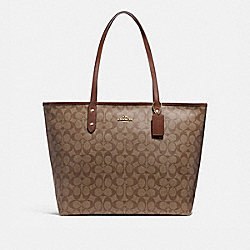 COACH F14929 - LARGE CITY ZIP TOTE IN SIGNATURE CANVAS KHAKI/SADDLE 2/LIGHT GOLD
