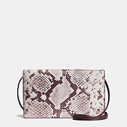 FOLDOVER CLUTCH CROSSBODY IN PYTHON EMBOSSED LEATHER - f14930 - SILVER/CHALK MULTI
