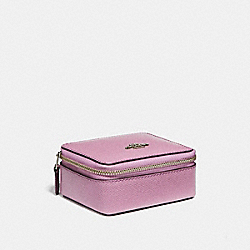 JEWELRY BOX IN GLITTER CROSSGRAIN LEATHER - f15151 - SILVER/LILAC