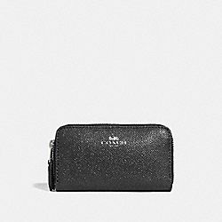 COACH F15153 Small Double Zip Coin Case SILVER/BLACK