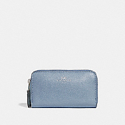 COACH F15153 Small Double Zip Coin Case SILVER/DUSK 2
