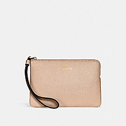 COACH F15154 Corner Zip Wristlet BEECHWOOD/LIGHT GOLD