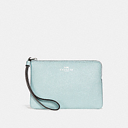 COACH F15154 - CORNER ZIP WRISTLET IN GLITTER CROSSGRAIN LEATHER SILVER/AQUA