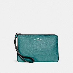 COACH F15154 Corner Zip Wristlet In Glitter Crossgrain Leather SILVER/DARK TEAL