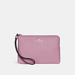 COACH F15154 Corner Zip Wristlet In Glitter Crossgrain Leather SILVER/LILAC