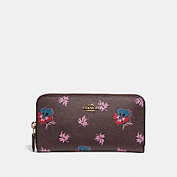 ACCORDION ZIP WALLET IN WILDFLOWER PRINT COATED CANVAS - f15155 - LIGHT GOLD/OXBLOOD 1