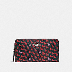 COACH F15219 Accordion Zip Wallet In Bunny Print Coated Canvas SILVER/BLACK MULTI