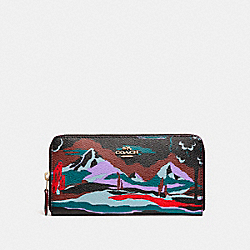 COACH ACCORDION ZIP WALLET IN LANDSCAPE PRINT COATED CANVAS - LIGHT GOLD/BLACK MULTI - F15274