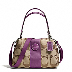 COACH F15518 - SIGNATURE STRIPE CONVERTIBLE SATCHEL SILVER/KHAKI/PLUM