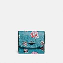 COACH SMALL WALLET IN WILDFLOWER PRINT COATED CANVAS - SILVER/DARK TEAL - F15563