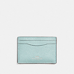 FLAT CARD CASE IN GLITTER CROSSGRAIN LEATHER - f15565 - SILVER/AQUA