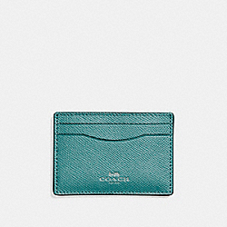 COACH F15565 Flat Card Case In Glitter Crossgrain Leather SILVER/DARK TEAL