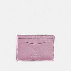 COACH F15565 - FLAT CARD CASE IN GLITTER CROSSGRAIN LEATHER SILVER/LILAC