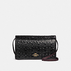 FOLDOVER CROSSBODY CLUTCH IN SIGNATURE DEBOSSED PATENT LEATHER - f15620 - LIGHT GOLD/BLACK