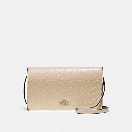 COACH f15620 FOLDOVER CROSSBODY CLUTCH IN SIGNATURE DEBOSSED PATENT LEATHER LIGHT GOLD/PLATINUM