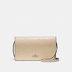FOLDOVER CROSSBODY CLUTCH IN SIGNATURE DEBOSSED PATENT LEATHER - f15620 - LIGHT GOLD/PLATINUM