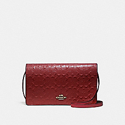 COACH F15620 Foldover Crossbody Clutch LIGHT GOLD/DARK RED