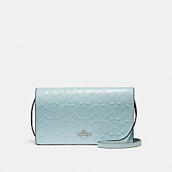 FOLDOVER CROSSBODY CLUTCH IN SIGNATURE DEBOSSED PATENT LEATHER - f15620 - SILVER/AQUA