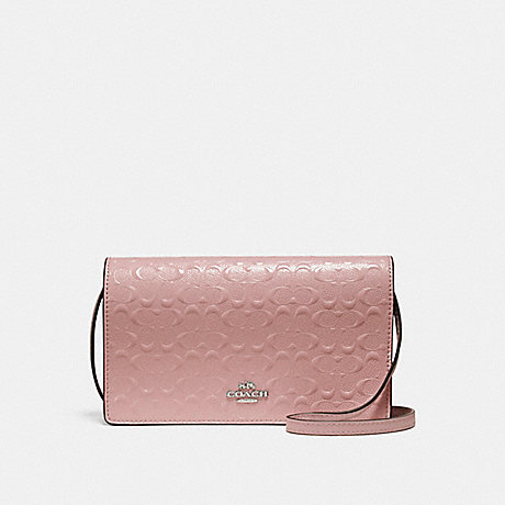 COACH f15620 FOLDOVER CROSSBODY CLUTCH SILVER/BLUSH 2