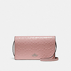 FOLDOVER CROSSBODY CLUTCH - f15620 - SILVER/BLUSH 2