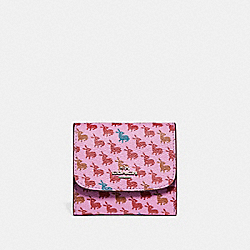 COACH F15621 Small Wallet In Bunny Print Coated Canvas SILVER/LILAC MULTI