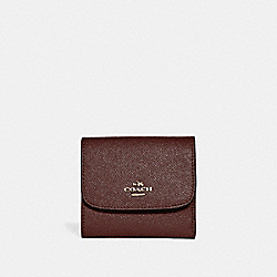 SMALL WALLET IN GLITTER CROSSGRAIN LEATHER - f15622 - LIGHT GOLD/OXBLOOD 1