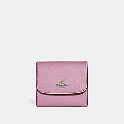 COACH F15622 Small Wallet In Glitter Crossgrain Leather SILVER/LILAC