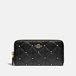 COACH F15763 Accordion Zip Wallet With Quilting BLACK/LIGHT GOLD