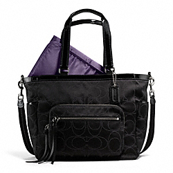 COACH F15998 Baby Bag Tote In Signature Outline C Sateen  SILVER/BLACK/BLACK