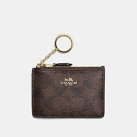 COACH F16107 MINI SKINNY ID CASE IN SIGNATURE CANVAS BROWN/BLACK/LIGHT-GOLD