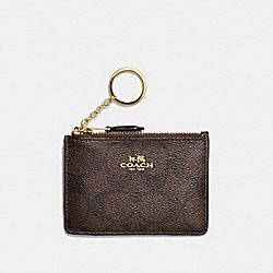 COACH F16107 - MINI SKINNY ID CASE IN SIGNATURE CANVAS BROWN/BLACK/LIGHT GOLD