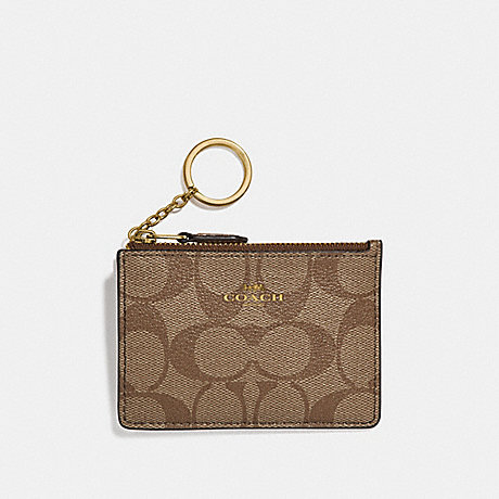COACH F16107 MINI SKINNY ID CASE IN SIGNATURE CANVAS GOLD/KHAKI/PLATINUM