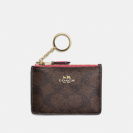 COACH F16107 MINI SKINNY ID CASE IN SIGNATURE CANVAS BROWN/STRAWBERRY/IMITATION-GOLD
