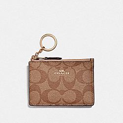 COACH F16107 Mini Skinny Id Case In Signature Canvas KHAKI/ROSE GOLD/LIGHT GOLD