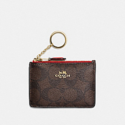 COACH F16107 - MINI SKINNY ID CASE IN SIGNATURE CANVAS BROWN/RUBY/IMITATION GOLD
