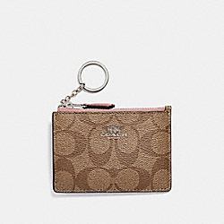 COACH F16107 - MINI SKINNY ID CASE IN SIGNATURE CANVAS KHAKI/PETAL/SILVER