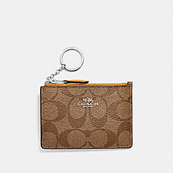 COACH F16107 Mini Skinny Id Case In Signature Canvas SILVER/KHAKI/TANGERINE