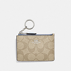 MINI SKINNY ID CASE IN SIGNATURE CANVAS - f16107 - LIGHT KHAKI/POOL/SILVER