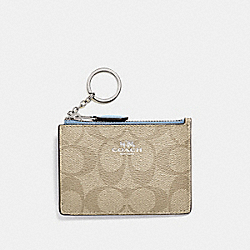 COACH F16107 - MINI SKINNY ID CASE IN SIGNATURE CANVAS LT KHAKI/CORNFLOWER/SILVER
