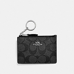 COACH F16107 Mini Skinny Id Case In Signature Coated Canvas SILVER/BLACK SMOKE