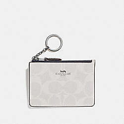 MINI SKINNY ID CASE IN SIGNATURE CANVAS - F16107 - CHALK/MIDNIGHT/SILVER