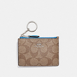 COACH F16107 - MINI SKINNY ID CASE IN SIGNATURE CANVAS KHAKI/BRIGHT BLUE/SILVER