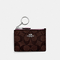 COACH F16107 Mini Skinny Id Case In Signature Canvas BROWN/AZALEA/SILVER
